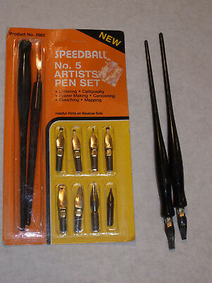 New Hunt Speedball Artist Pen Set #5! Nos! Calligraphy! Usa! 9 Nibs, 2 Pens! Usa