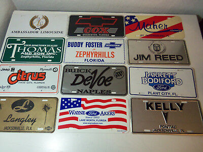 Lot 12 License Plates FLORIDA CAR DEALERS CHEVROLET BUICK FORD PONTIAC NISSAN
