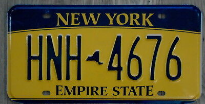 NEW YORK Empire State Classic Blue on Orange / Yellow License Plate HNH 4676