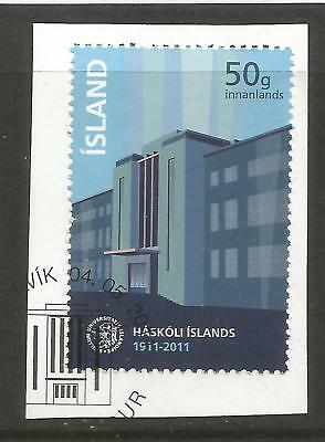 ICELAND 2011 100th ANNIV OF ICELAND UNIVERSITY  ON A PIECE, SCOTT 1295, USED (o)