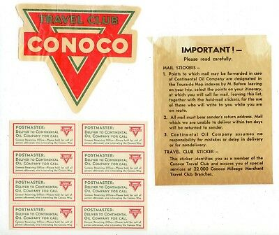 c1940 Conoco Travel Club and Postmaster Mail stickers