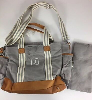 Pottery Barn Kids Classic Diaper Bag Gray *r* New Leather Changing Pad Baby Nwt
