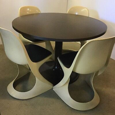 4 CASALA plastic RETRO Modern CHAIRS and Laminated TULIP TABLE Kitchen 1970s