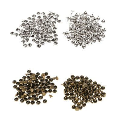 200 Sets Metal Leather Crafts Double Cap Rapid Rivets Assorted Silver Bronze