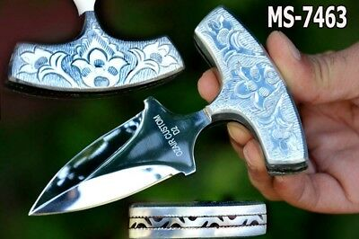 "5.0"" Ozair Custom Mirror Polish D2 Steel Full Tang Combat Dagger Knife Ms-7463"