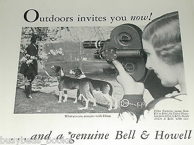1931 Bell & Howell ad, Filmo movie camera, Filmo 16mm, girl walking dogs