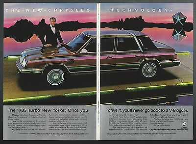 1985 Chrysler NEW YORKER 2-page advertisement, large photo, Turbo New Yorker ad