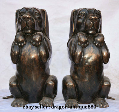"16.8"" Old China Bronze Feng Shui lifelike Foo Dog Likable Lucky Sculpture Pair"
