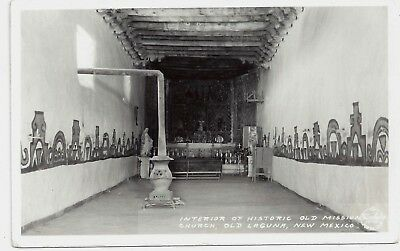 RP Laguna New Mexico Mission Church Interior 1930s Frasher's Postcard