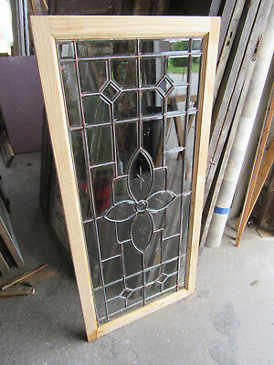 ~ ANTIQUE FULL BEVELED ETCHED LEADED GLASS TRANSOM WINDOW ~ 56 x 26 ~ SALVAGE