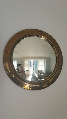 Vintage Antique Arts And Crafts Brass Porthole Round Wall Mirror
