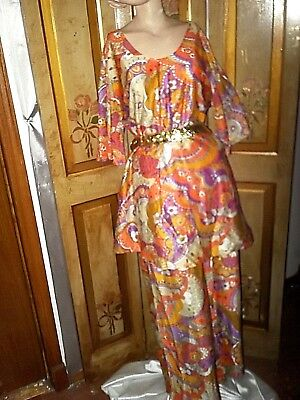 S-M-L vtg mod 2 pc 60s Psychedelic Palazzo Bell Bottom Pants mini dress outfit
