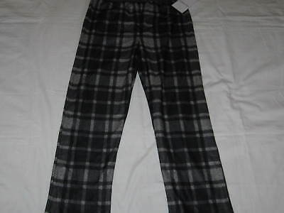 Boys M 8-10 CALVIN KLEIN Black and Gray Plaid Flannel Sleep Pajama Pants NWT