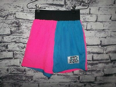 S-M SPELL OUT Surf Mania Women's 80S 90S neon colorblock nylon shorts high waist
