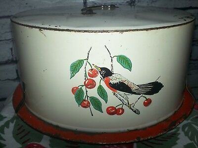 vtg MAID OF HONOR ? METAL CAKE TAKER CARRIER SAVER ROBIN red CHERRIES round 40s