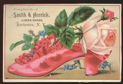 1880-90S Trade Card, Compliments Of Smith & Herrick Ladies Shoes, Rochester, N.y