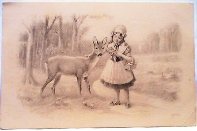 1910 Postcard Little Girl With Deer