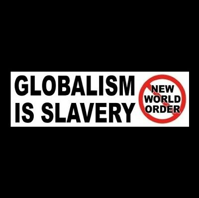 """GLOBALISM IS SLAVERY"" Anti New World Order BUMPER STICKER no liberal gun rights"