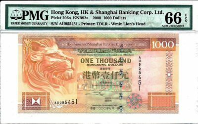 Hong Kong Bank Hong Kong  $1000 2000  PMG  66EPQ