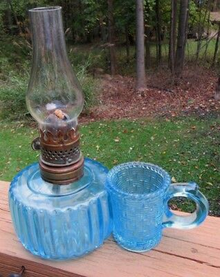 Rare Antique Pat. 1887 Blue Glasss Miniature Oil Lamp w Attached Match Holder