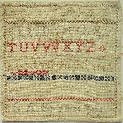 Small Late 19Th Century Alphabet Sampler By S.a.bryan - 1880