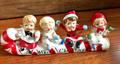 Vintage Child Angels on Candy Cane Christmas Porcelain Commodore Japan (A)