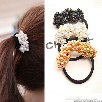 Girls Scrunchies Vintage Elastic Hair Bands Rubber Rope Headdress Beads Headband