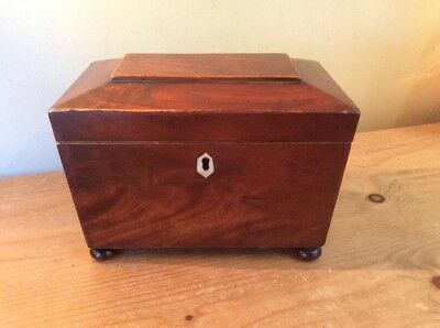 Victorian Flame Mahogany Tea Casket Caddy