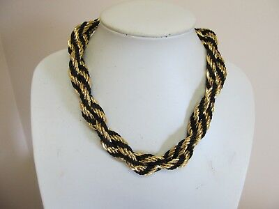 "Twisted Flexible Gold Tone Chain & Black Fabric 18"" Necklace"