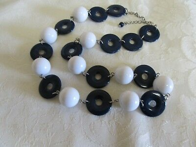 "Vintage Navy Blue & White 24"" Necklace"