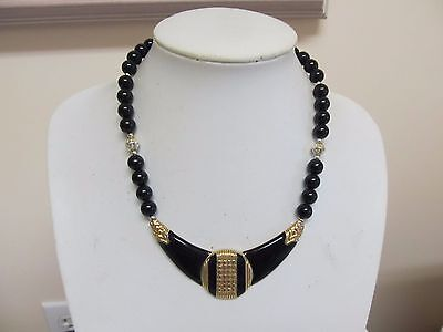 "Vintage Black Enamel & Gold Tone Bib 16"" Necklace"