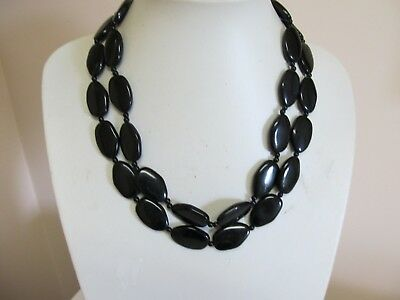 "Vintage 2 Strand Flat Black Bead 18"" Necklace"