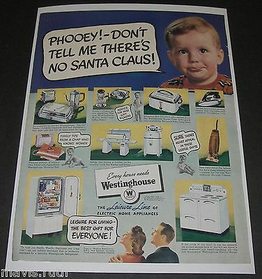 Print Ad 1940 APPLIANCE Westinghouse Phooey Don't tell me there's no Santa Claus
