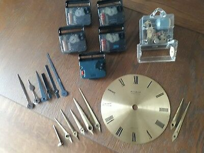 Job lot Antique brass clock face and fingers 6 x quartz clock movement