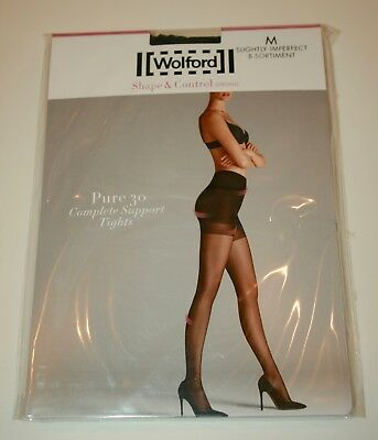 bd3e4f420 Wolford Pure 30 Complete Support Tights Pantyhose Control Medium Anthracite  Grey