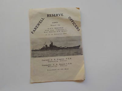 WWII Menu Farewell Reserve Officers U.S.S. Wisconsin Ship WW II Military VTG WW2