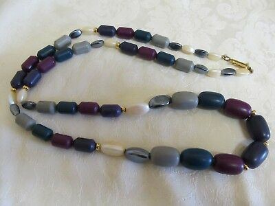 "Vintage ""Signature"" 30"" Multi Bead & Multi Colored Necklace"