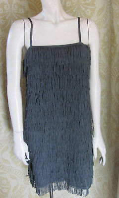 DIVIDED 1920s Vintage Style Gray Fringed Spaghetti Strap Cocktail Dress Sz6