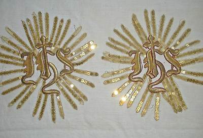 Pair Antique Ecclesiastical Raised Metallic Goldwork Applique Motifs ~IHS~