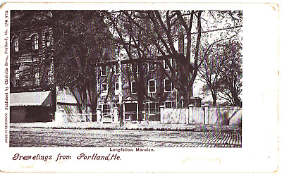 Postcard Vintage 1904 Greeting From Portland Me Longfellow Mansion