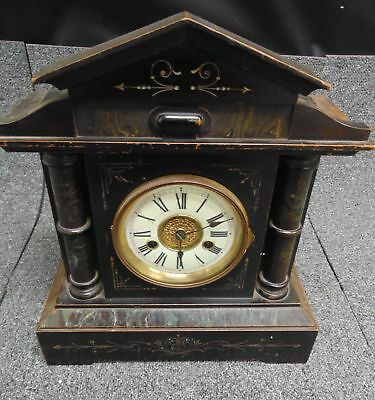 Vintage HAC Hamburg American Corporation Ebonised Wood Mantel Clock SPARES - H59