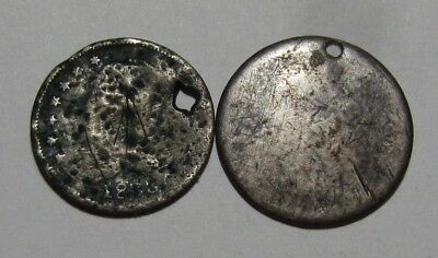 1833 & Dateless Capped Bust Half Dime - Damaged Condition - 98SU