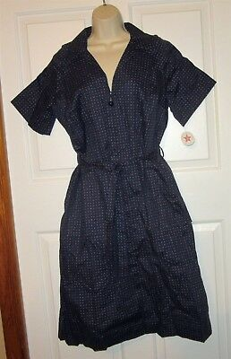 Vtg NWT Carolina Maid Housedress 50's Style Dress size 14 1/2 zipper belt navy