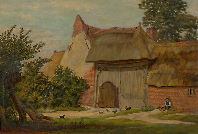 English School Early 20th Century Oil - Cottage in a Landscape