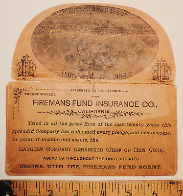 1883 Firemans Fund Insurance Co Pocket Wallet Chicago Fire 10 Hour Work Week