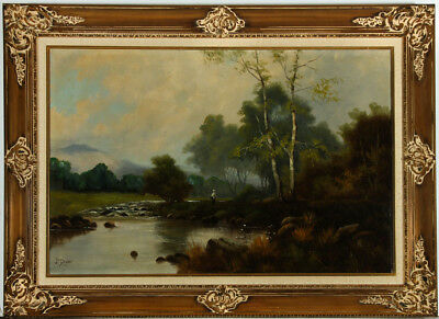 J.M. Ducker - Impressive Gilt Framed Early 20th Century Oil, River Landscape