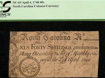 1748 Drum And Fife Colonial Currency North Carolina 40 Shillings Note Nc-69 Pcgs