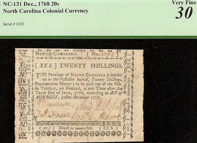 1768 North Carolina Colonial Currency 20 Shillings Note Old Paper Money Pcgs 30