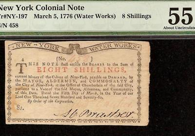 Mar 5, 1776 Water Works Note New York Colonial Currency Only 2500 Ny-197 Pmg 55