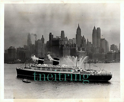 United States Lines Ss America Maiden Postwar Ny Arrival 1946 Vintage Photo